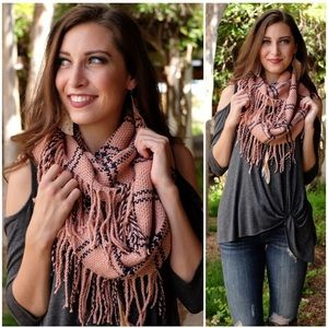 Blush/Charcoal Plaid Fringe Infinity Scarf